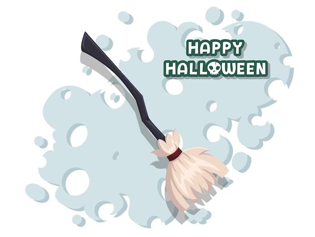 Feliz dia das bruxas. vassoura feita de galhos em um vetor de cabo longo de madeira no fundo. design plano. cartão de felicitações, convite para festa. ilustração vetorial