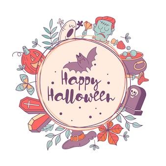 Feliz dia das bruxas vector cartão de felicitações