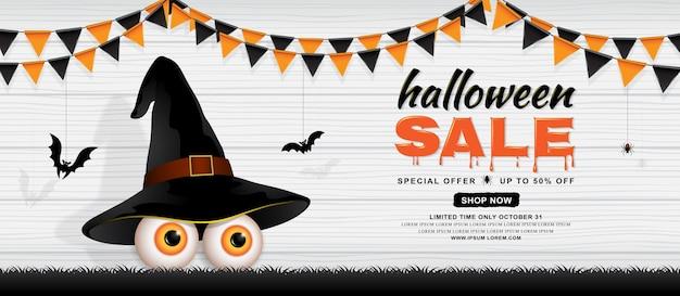Feliz dia das bruxas venda bandeira modelo olhos com chapéu de bruxa