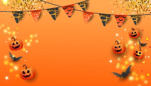 Feliz dia das bruxas venda banner com abóbora, morcegos e doces em fundo laranja.