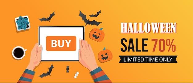 Feliz dia das bruxas venda promoção modelo feriado celebração conceito desconto sazonal cartão de ilustração vetorial horizontal de panfleto