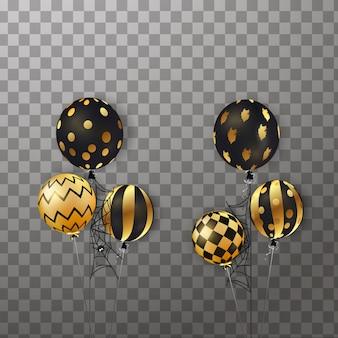Feliz dia das bruxas. voando conjunto de brilhantes, balões de férias isolados. grande conjunto de confetes de glitter de halloween, ouro, preto, balões fantasma, aranha, web. decorações para festa de comemoração, cartão.