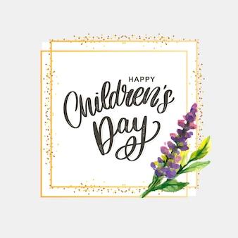 Feliz dia das crianças, bonito cartão com letras engraçadas no estilo escandinavo e paisagem dos desenhos animados