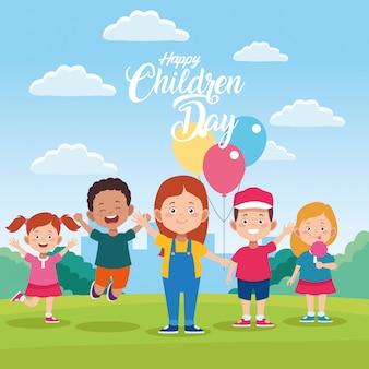 Feliz dia das crianças cartão com crianças e balões de hélio no campo