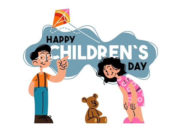 Feliz dia das crianças crianças brincando com ilustração vetorial de pipa e boneca