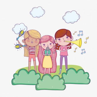 Feliz dia das crianças, crianças musicais da banda com microfone e trombetas