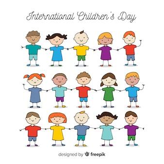 Feliz dia das crianças de fundo na mão desenhada estilo