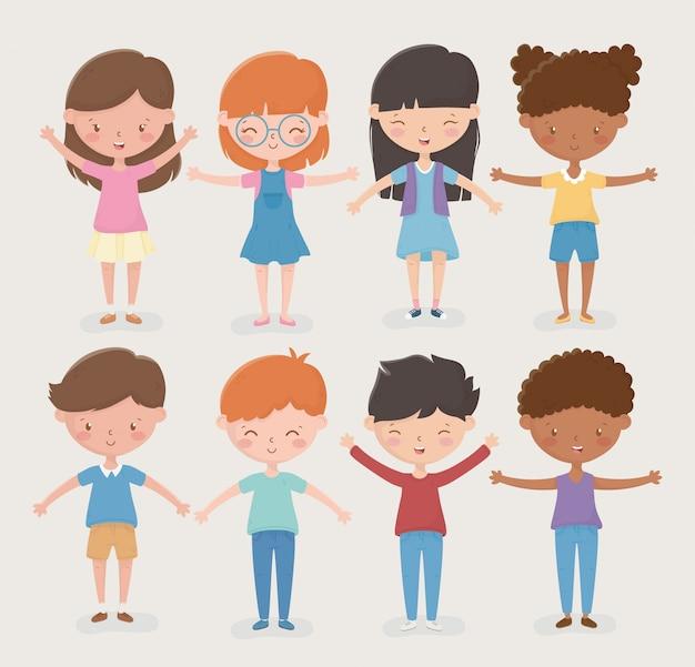 Feliz dia das crianças diferentes meninas e meninos abrem os braços