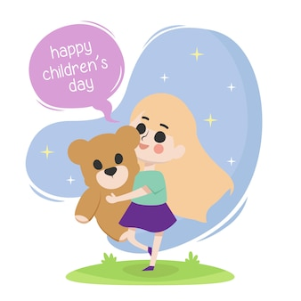 Feliz dia das crianças ilustração com uma menina sua boneca