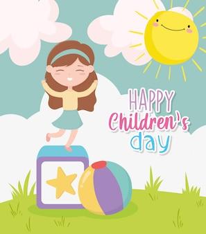 Feliz dia das crianças, menina jogando bloco e bola brinquedos natureza sol nuvens desenhos animados