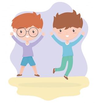 Feliz dia das crianças, meninos bonitos cartum ilustração vetorial de celebração