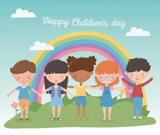 Feliz dia das crianças meninos e meninas arco-íris campo ao ar livre