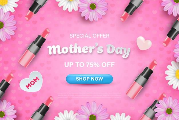 Feliz dia das mães banner design com flores realistas, batom e corações em rosa.