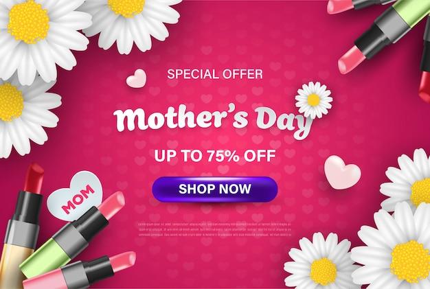 Feliz dia das mães banner design com flores realistas, batom e corações.