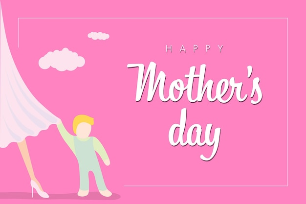 Feliz dia das mães, banner ou pôster de panfleto de saudação, bebê pequeno se apega ao vestido rosa da mãe com