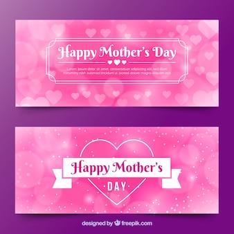 Feliz dia das mães banners com efeito bokeh