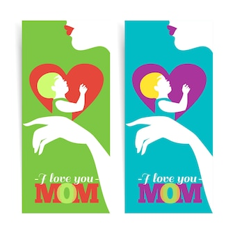 Feliz dia das mães. banners da bela silhueta da mãe e do bebê no coração