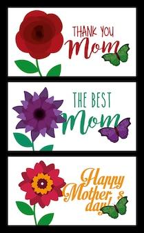 Feliz dia das mães banners decoração flores e borboletas