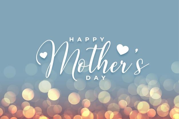 Feliz dia das mães bokeh fundo de celebração do cartão