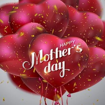 Feliz dia das mães cartão com balões em forma de coração e confetes dourados