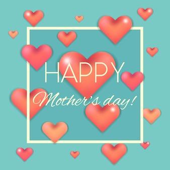 Feliz dia das mães cartão com corações rosa em azul