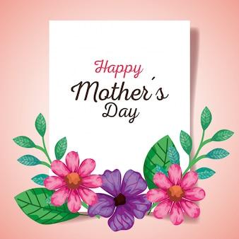 Feliz dia das mães cartão com decoração de flores