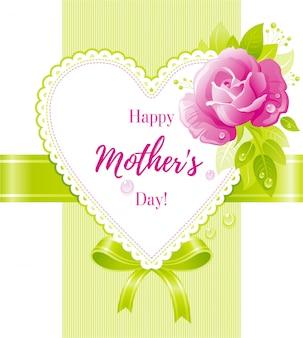 Feliz dia das mães cartão com flor rosa rosa e coração.