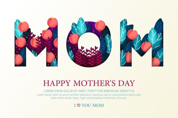 Feliz dia das mães cartão com flores e folhas