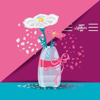 Feliz dia das mães cartão com flores em vaso
