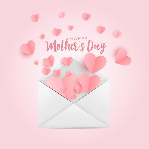 Feliz dia das mães cartão com fundo de papel origami hes. ilustração