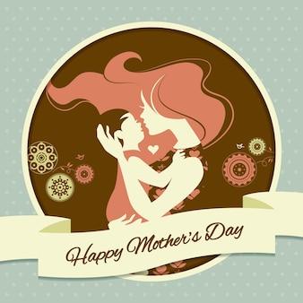 Feliz dia das mães. cartão com linda silhueta de mãe e bebê em estilo vintage