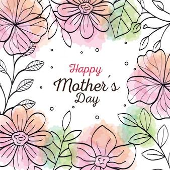 Feliz dia das mães cartão com moldura de flores decoração