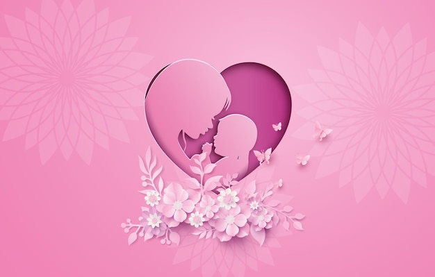 Feliz dia das mães cartão com mulher grávida. corte de papel, estilo de colagem de papel com ofício digital.