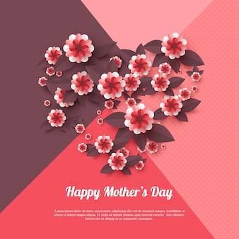 Feliz dia das mães cartão de felicitações. flores de corte de papel