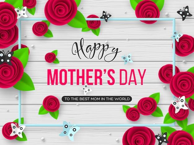 Feliz dia das mães cartão de saudação. flores de corte de papel 3d com borboleta e moldura