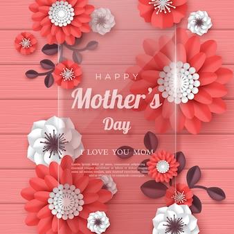 Feliz dia das mães cartão de saudação. flores de corte de papel 3d com moldura de vidro transparente