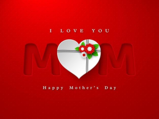 Feliz dia das mães cartão de saudação. palavra de mãe em estilo de papel artesanal com flores decoradas com coração 3d em vermelho manchado Vetor Premium