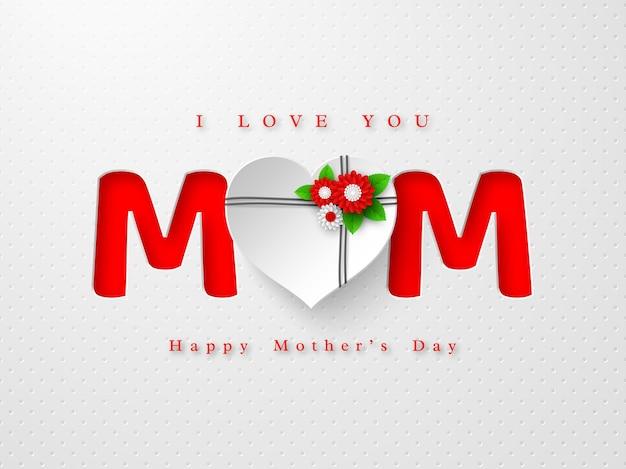 Feliz dia das mães cartão de saudação. word mom em estilo de papel artesanal com flores decoradas com coração 3d