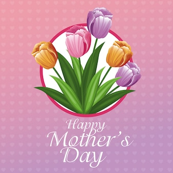 Feliz dia das mães cartão de tulipas e corações de fundo