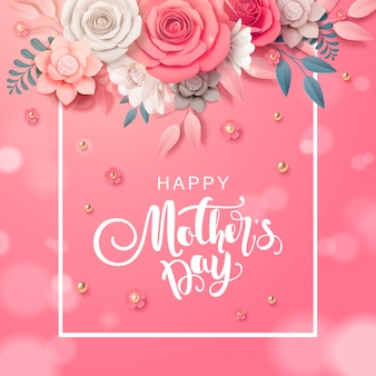 Feliz dia das mães cartão design com flor.