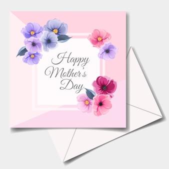 Feliz dia das mães cartão design com lindas flores e folhas