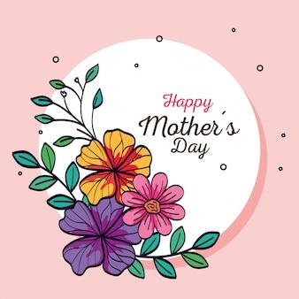 Feliz dia das mães cartão e moldura circular com decoração de flores