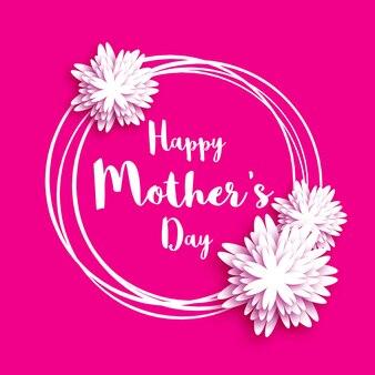 Feliz dia das mães. cartão floral rosa.
