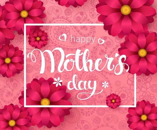 Feliz dia das mães cartão gretting. mão-feita letras da moda com flores da primavera no padrão estampada rosa.