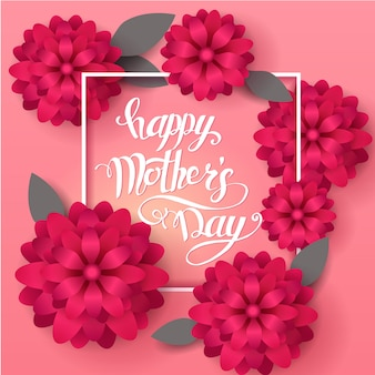 Feliz dia das mães cartão gretting. mão-feita letras da moda com flores da primavera.