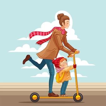 Feliz dia das mães cartão. jovem mãe com seu filho.