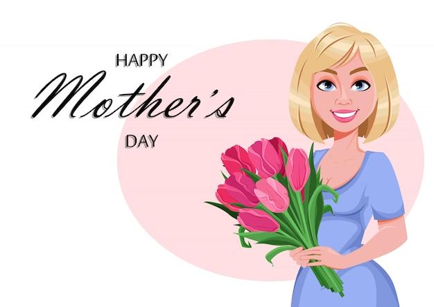 Feliz dia das mães cartão. mulher bonita