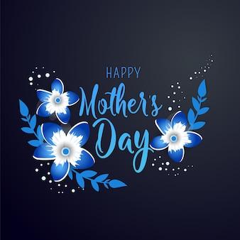 Feliz dia das mães cartaz com flores brilhantes. Vetor Premium