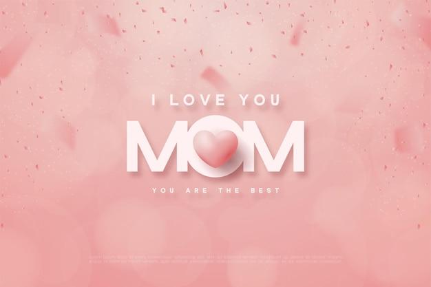 Feliz dia das mães com a mãe de palavras e balões de amor rosa.