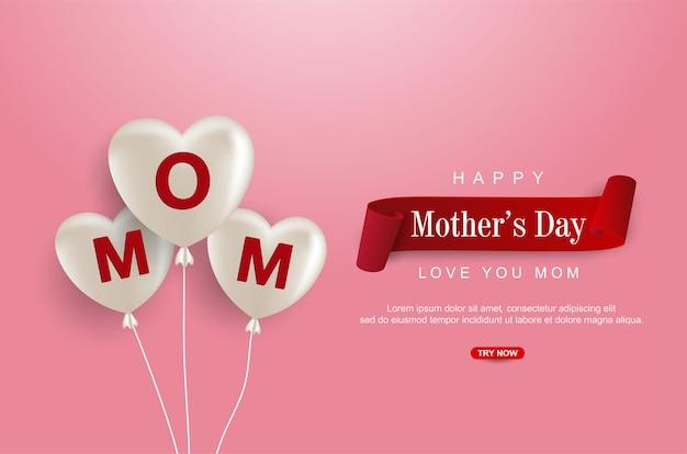 Feliz dia das mães com balão de amor realista
